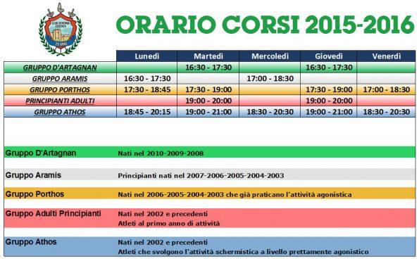 Orario Club Scherma Cosenza 2015-2016