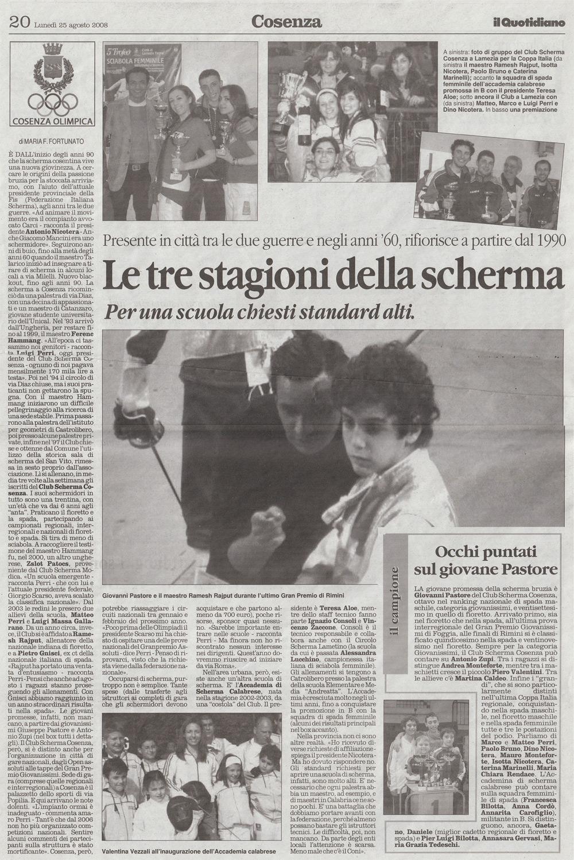 Articoli di giornale dedicati alla scherma cosentina for Resoconto tratto da articoli di giornali