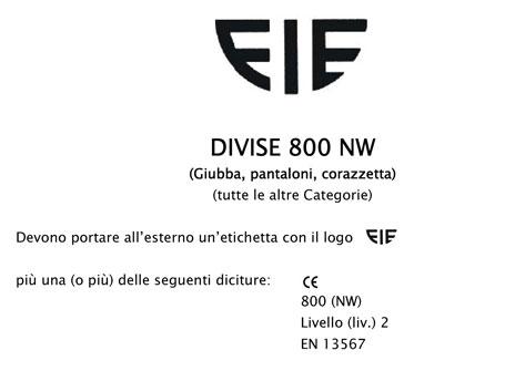 Marchio FIE - Divise 800 NW