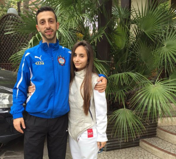 Martina Rinaldi con l'istruttore Bruno a Riccione