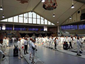 Campionato Master Scherma 2018: atleti schierati per l'inno nazionale
